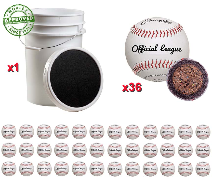 Champion Sports Ball Bucket With 36 Official Baseballs Dozen