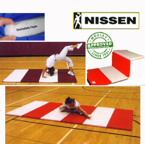 """Nissen Envirosafe Folding Tumbling Mat 1 1/2"""" Thick With Velcro On All Sides - 2' Folds"""