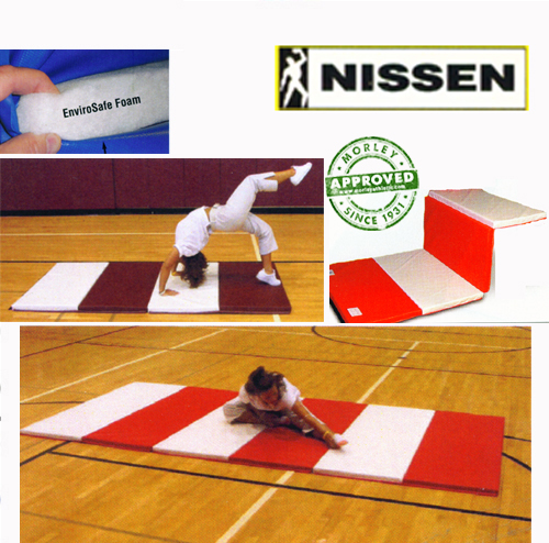 """Nissen Envirosafe Folding Tumbling Mat 2 1/2"""" Thick With Velcro On All Sides"""