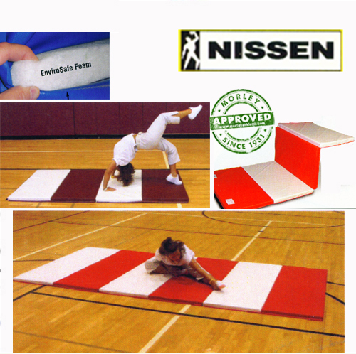 """Nissen Envirosafe Folding Tumbling Mat 2"""" Thick With Velcro On All Sides - 2' Folds"""