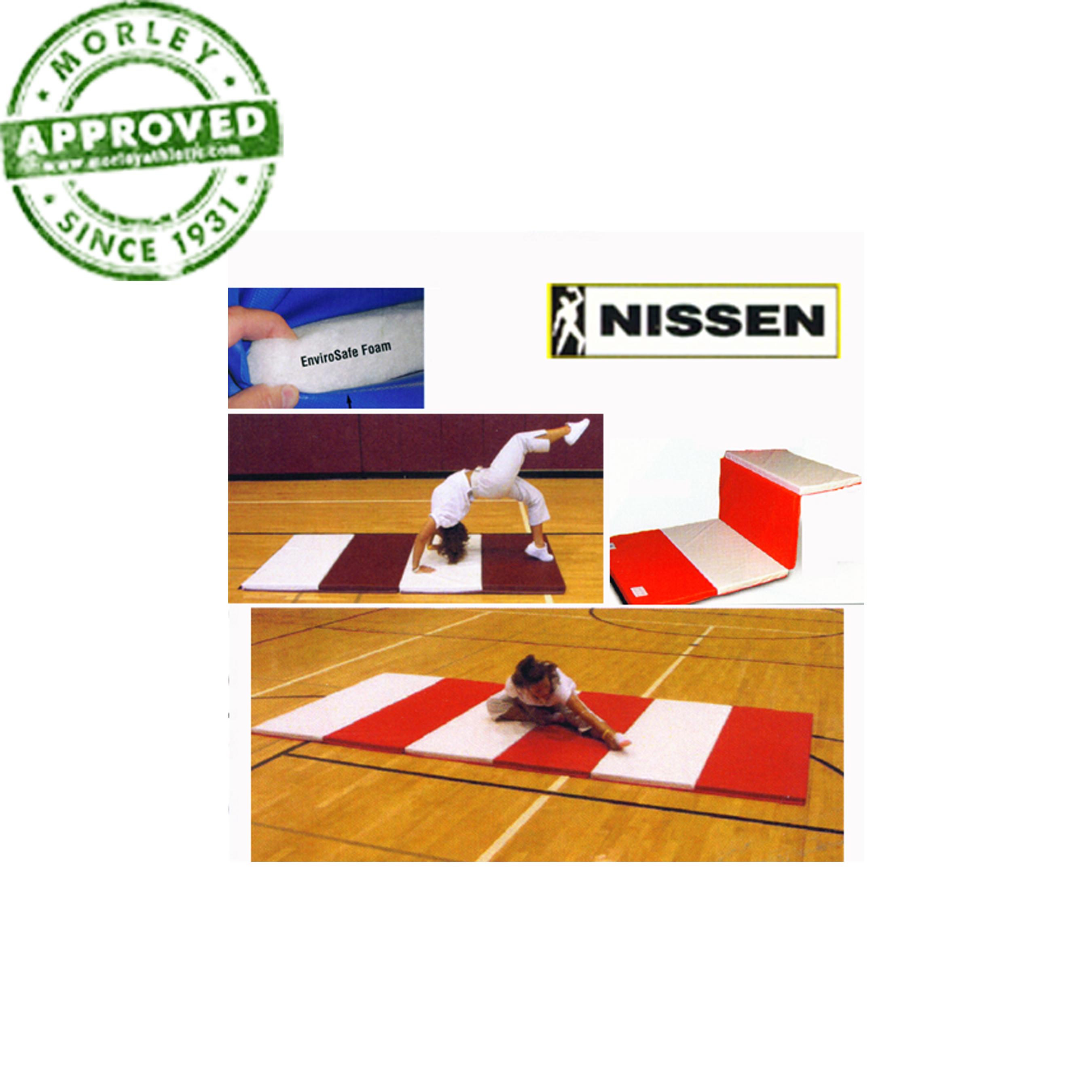 "Nissen Envirosafe Flex Firm Folding Tumbling Mat 2"" Thick With Velcro On Ends - 2' Folds"