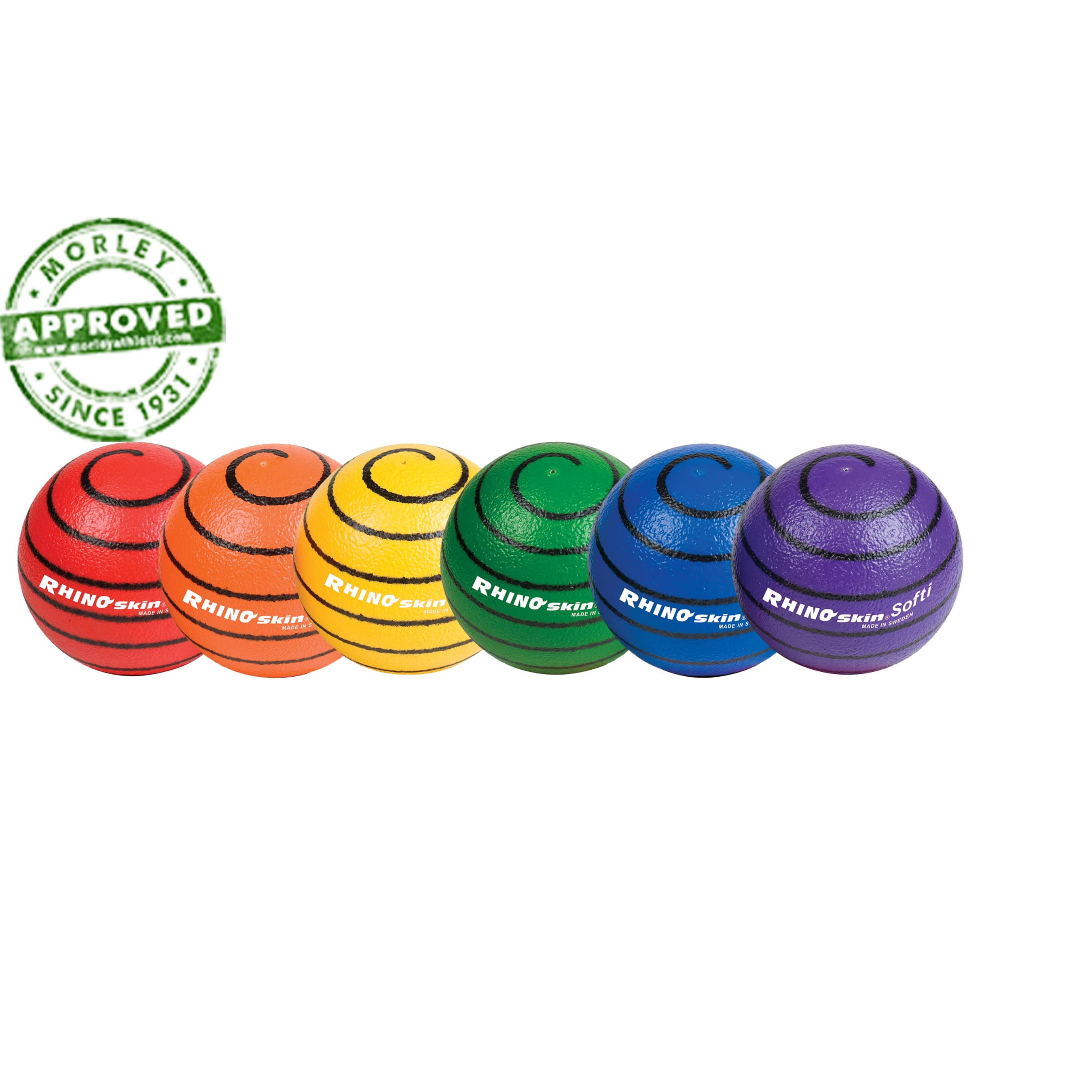"Rhino Skin Rainbow 6.3"" Softi Swirl Ball Set Of 6"