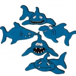 Blue Poly Sharks (Set Of 5)