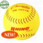 "Champion Sports 11"" Synthetic Yellow Red Stitch Softballs (Dozen)"