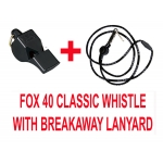 Fox 40 Classic Whistle Color Black With Breakaway Black Lanyard