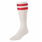 "TCK Nylon Striped Tube Socks White Body 20"" Medium 80% Cotton 20%"