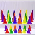 PLASTIC CONES IN RAINBOW COLORS