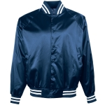Augusta Satin Baseball Jacket/striped Trim-youth