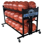 Super Tuff Basketball Custom Logo Ball Rack Holds 30 Balls