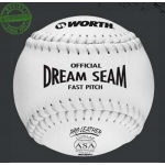 "Worth Dream Seam 12"" Pro Leather White Softball (Dozen)"